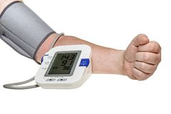 Blood pressure check. Test monitor exam. Male hand and diagnostic tool isolated. Work path Royalty Free Stock Photography