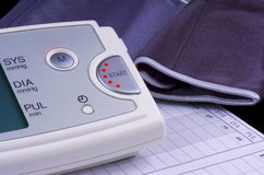 Blood pressure check up. Blood pressure equipment as a closeup image Stock Image