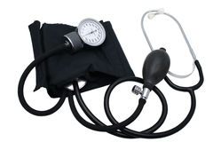 Blood Pressure Cuff. A Blood Pressure Cuff (Sphygmomanometer) with the focus on the analog meter Stock Image