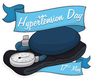 Blood Pressure Cuff with Ribbons to Commemorate World Hypertension Day, Vector Illustration. Analog blood pressure meter with commemorative ribbons to celebrate Stock Photos