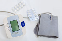 Blood pressure device and medication Royalty Free Stock Photo