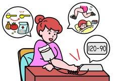 Blood pressure fallen. Woman pleased by her blood pressure fallen Stock Photo