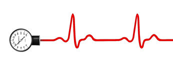 Blood pressure gauge with ECG graph. Blood pressure gauge with ECG electrocardiogram graph isolated Stock Photography