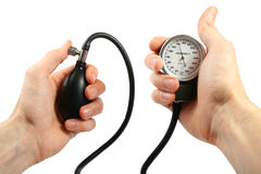 Blood pressure gauge in the hands Stock Photo
