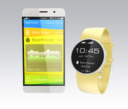 Blood pressure information synchronize from smart watch Royalty Free Stock Images