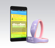 Blood pressure information synchronize from smart wristband Stock Images