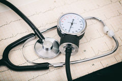 Blood pressure manometer on a cardio Royalty Free Stock Photos