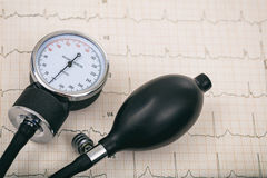 Blood pressure manometer on a cardio Royalty Free Stock Images