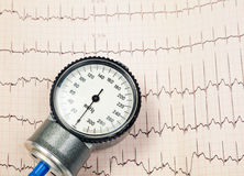Blood pressure manometer on EKG Stock Photo