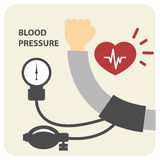 Blood pressure measurement - hand and sphygmomanometer Stock Photo