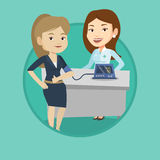 Blood pressure measurement vector illustration. Woman checking blood pressure with digital blood pressure meter. Woman giving thumb up while doctor measuring Stock Photos