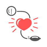 Blood pressure measuring. Beautiful vector illustration of blood pressure measuring. Abstract medicine symbol. Useful for sign development, indographics Stock Photography