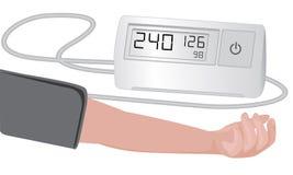 Blood pressure measuring cardio exam. Vector illustration on a white background stock illustration