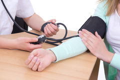Blood pressure measuring in clinic Stock Photos