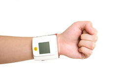 Blood pressure measuring device. Over the white royalty free stock photo