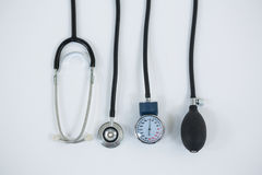 Blood pressure measuring equipment and stethoscope. On white background Royalty Free Stock Photos