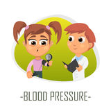Blood pressure medical concept. Vector illustration. Doctor and patient are talking in the hospital. Isolated on white background Royalty Free Stock Photography