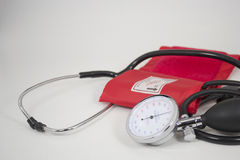 Blood pressure meter. And stethoscope Stock Images