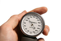Blood pressure meter in hand Stock Image