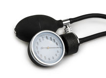 Blood pressure meter medical equipment isolated on white Stock Photos
