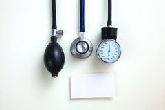 Blood pressure meter medical equipment  on white Royalty Free Stock Photos
