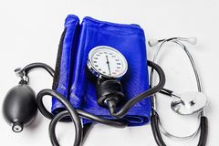 Blood pressure meter medical equipment on white background royalty free stock photos