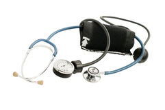 Blood pressure meter and stethoscope blue Royalty Free Stock Photography