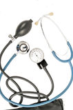 Blood pressure meter and stethoscope blue Royalty Free Stock Photo
