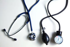 Blood pressure meter and stethoscope,  on Royalty Free Stock Photo