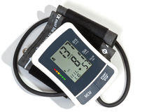 Blood Pressure Monitor Cuff and Pipe on White Stock Photography