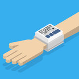 Blood pressure monitor on hand. Royalty Free Stock Images
