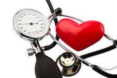 Blood pressure monitor and heart Stock Photo