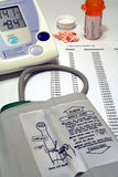 Blood Pressure Monitor, Pills & Health Log stock photos