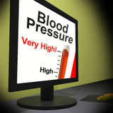 Blood Pressure On Monitor Showing Very High Levels Stock Images