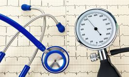 Blood pressure monitor, stethoscope and EKG curve royalty free stock photography