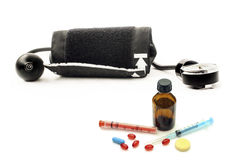 Blood pressure monitor and various pharmaceutical preparations Stock Photography