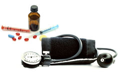Blood pressure monitor and various pharmaceutical preparations Stock Image
