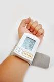 Blood pressure monitors. Process of blood pressure examination royalty free stock photo