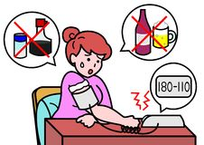 Blood pressure risen. Woman worries about her blood pressure stock illustration