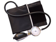 Blood pressure sphygmomanometer, with clipping pat stock images