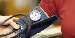 Blood pressure testing Royalty Free Stock Image