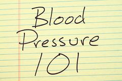 Blood Pressure 101 On A Yellow Legal Pad Stock Image