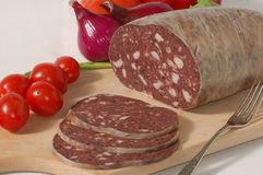 Blood pudding and vegetables Royalty Free Stock Photo