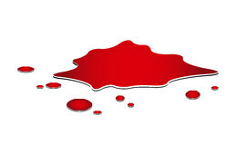 Blood puddle, murder place, drop, blots, stain, red plash od blood.  Stock Image