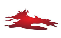 Blood puddle, red drop, blots, stain, plash od blood. Vector illustration  on white background. Stock Photo