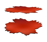 Blood puddle set, red drop, blots, stain, plash of blood.  Royalty Free Stock Photos