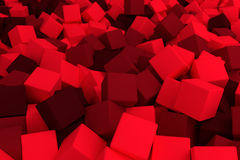 Blood red cubes. 3d cg volumetric blood red cubes background Royalty Free Stock Photography