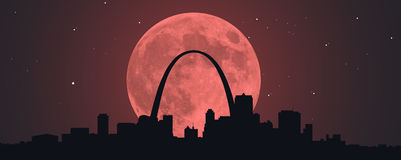 Blood Red Moon Over STL Royalty Free Stock Photos