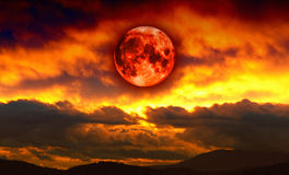 Blood red moon Stock Photo