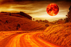 Blood red moon. A vibrant blood red moon over rural land Stock Photography